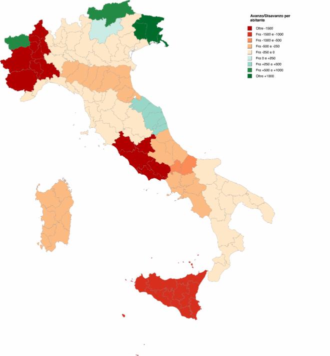 Fonte: Corte dei conti e bilanci regionali Nota: dati riferiti a 2014 e 2013 in assenza di quelli 2015
